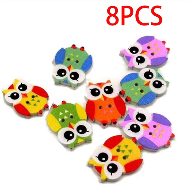 New style 8Pcs Mixed Color Wood Sewing Button Scrapbooking Cute Owl Shaped Crafts 2Holes Clothing Sewing Accessories