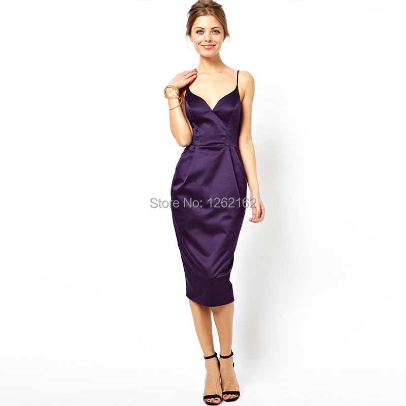 2016 slim spaghetti strap racerback medium-long female one-piece slim hip Vestidos sexy dinner dress wedding party dresses