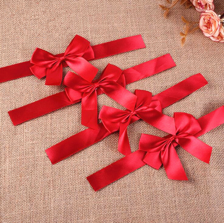 100pcs Free Shipping Ready-made Gift Package Decoration Ribbon Bow Grosgrain Red Christmas Gift  Bows