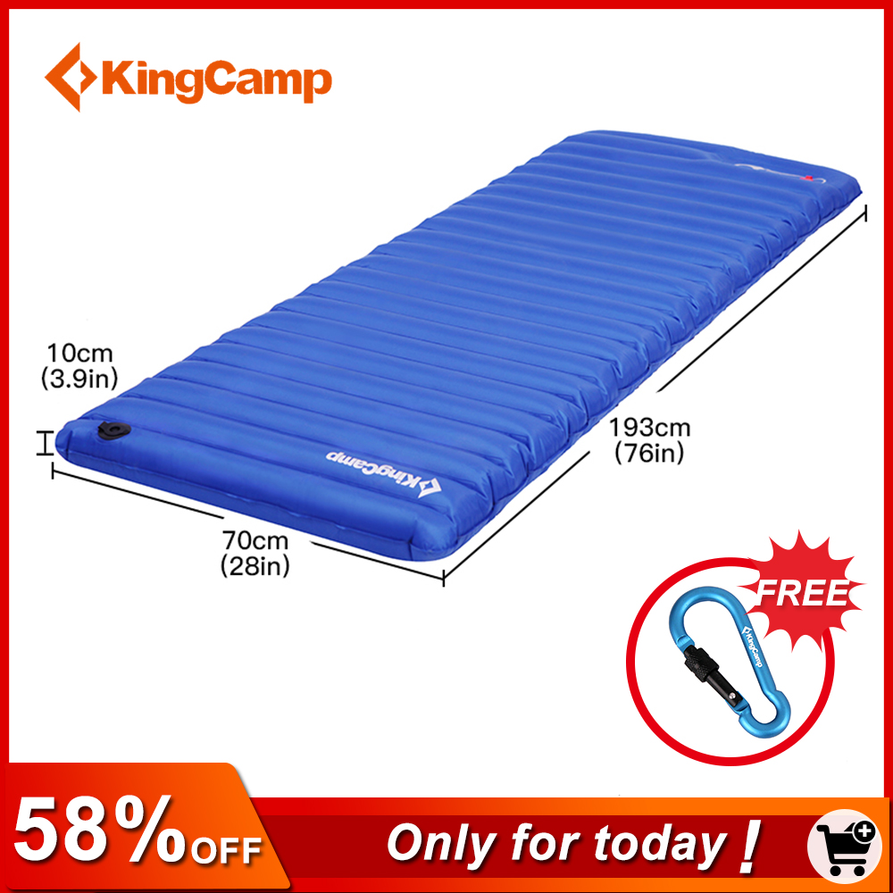 KingCamp Inflatable Air Mattress Lightweight Single Camping Mat Tent Sleeping Pad PVC Durable Airbed for Outdoor Camping Hiking durable thicken pvc car travel inflatable bed automotive air mattress camping mat with air pump