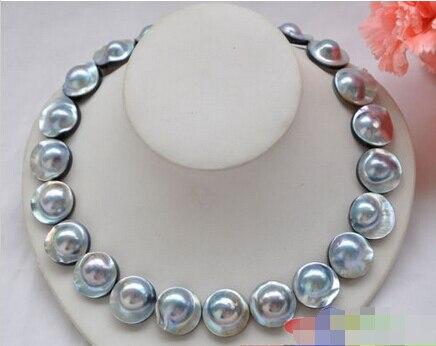 AAA + + ОГРОМНЫЙ РЕАЛ 18 20 мм Серый Южное море Mabe жемчужное ожерелье