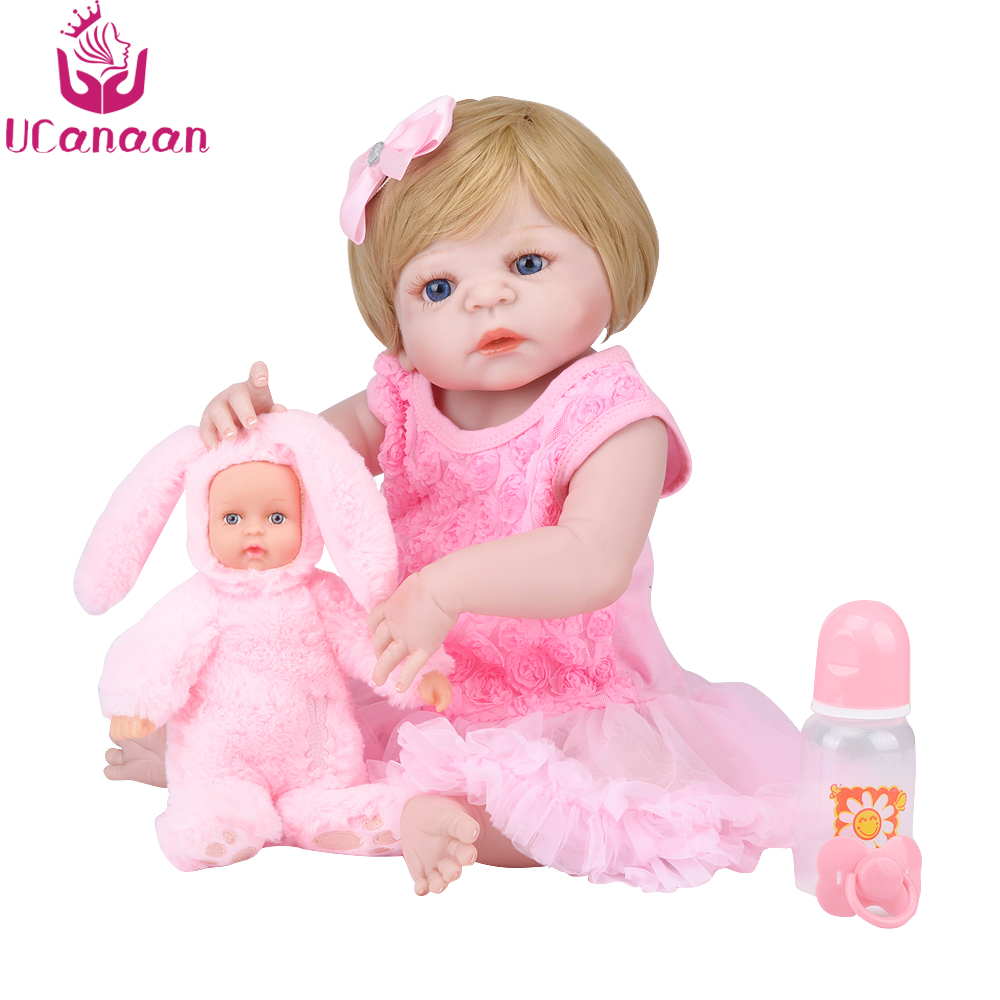 UCanaan 22'' Silicone Dolls Reborn 55CM Baby Born Alive Doll With Rabbit Toy Realistic Newborn Kids Toys For Girls Collection ucanaan 20 50cm reborn doll hair rooted realistic baby born dolls soft silicone lifelike newborn toys for girls xmas kids gift