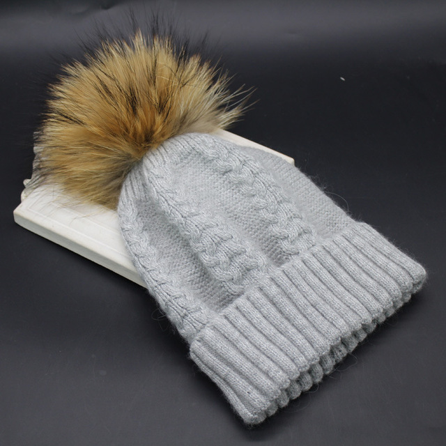 new arrival wool twisted knitted beanies pom pom knitted beanies real raccoon fur all match fashion unisex women female fur hats