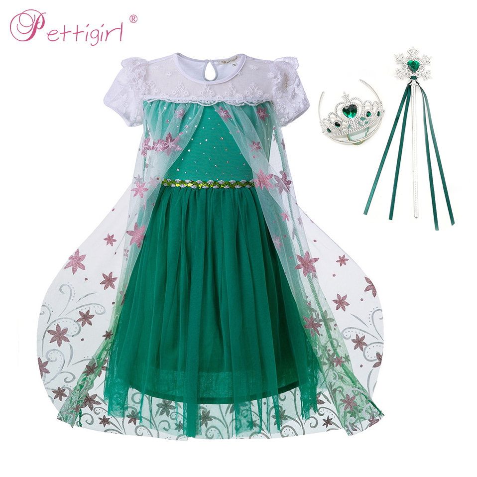 15bc98bfb89 Pettigirl Elsa Anna Girl Party Dress With Flower Cape Puff Sleeve Green Princess  Dresses Fancy Cosplay Cosplay Costume GD50613-4