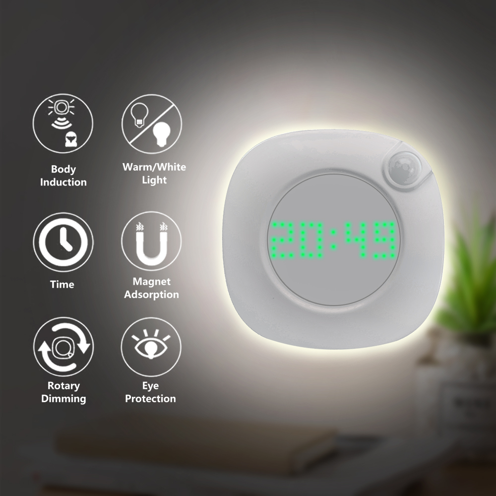 LED PIR Motion Sensor Night Light With Time Clock For Home Bedroom Stairs Wall Lamp Brightness Battery Power 2 Lighting Color