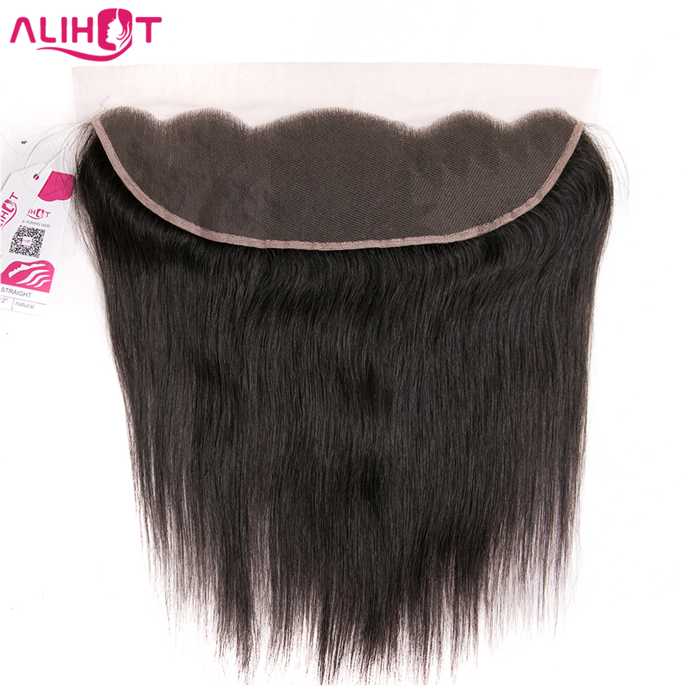 ALI HOT Peruvian Straight Hair 1 Pcs 13*4 Lace Frontal Closure 100% Remy Human Hair Extensions 8-18 Inch Natural Color Closure