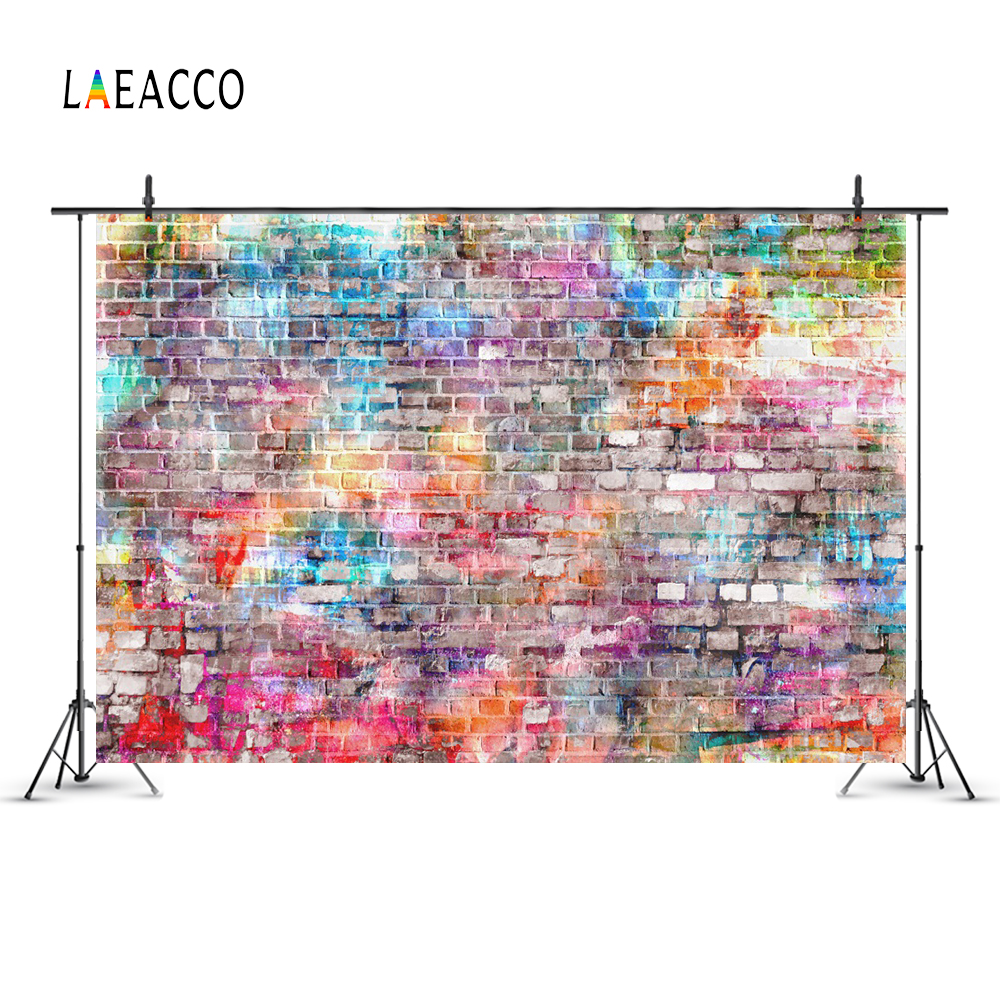 Laeacco Colorful Brick Wall Graffiti Portrait Grunge Photography Backgrounds Customized Photographic Backdrops For Photo Studio in Background from Consumer Electronics