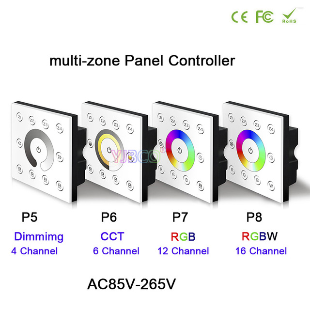 Bincolor dimming/CCT/RGB/RGBW dimmer AC85V-265V Wall-mounted DMX512 Console Master Touch panel controller for LED Strip Light