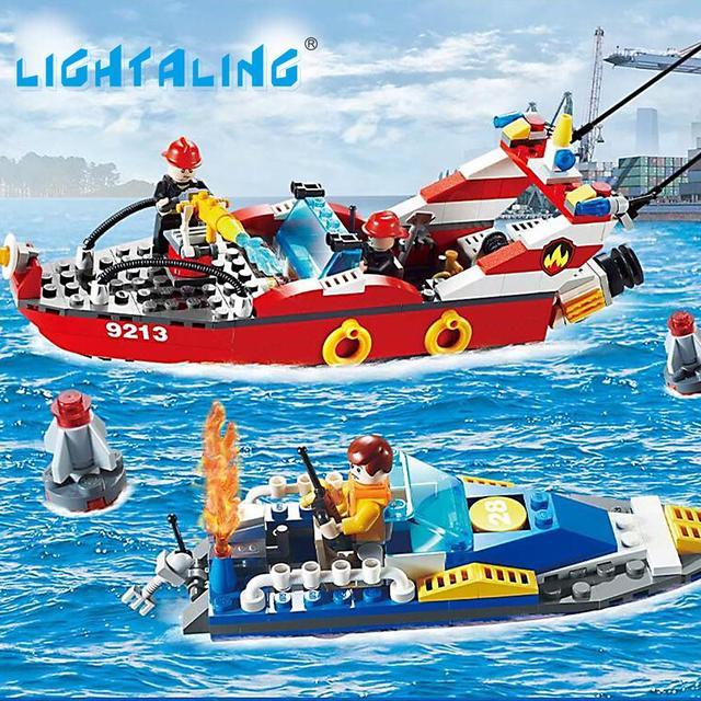 Fuego barco de salvamento marítimo, la construcción de bloques de construcción para niños juguetes educativos play set 315 unids