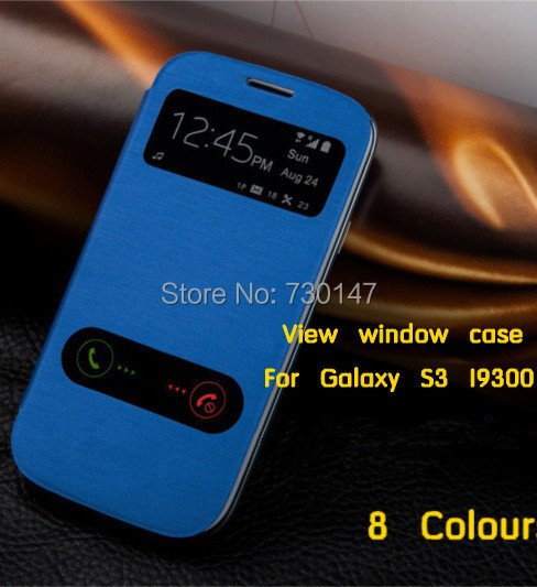 Back battery housing cover cases flip leather open View  window case for samsung galaxy s3 SIII i9300 9300