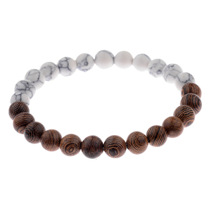 Image 5 - 8mm New Natural Wood Beads Bracelets Men Black Ethinc Meditation White Bracelet Women Prayer Jewelry Yoga Bracelet Homme