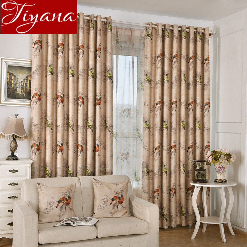 Birds Curtains Printed Sheer Voile Window Screen Yarn