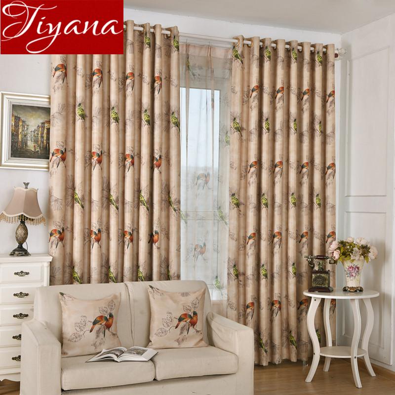 cortinas de aves impresa hilo pantalla pura voile ventana cortinas rsticas modernas cortinas de la sala