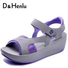 D & henlu женщины повысить Похудение сандалии на танкетке Повседневные Дышащие сандалии на платформе женщина