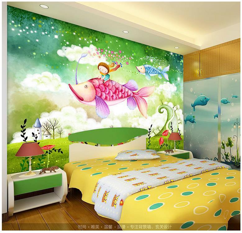 Custom 3d Photo Wallpaper 3d Wall Murals Wallpaper Mermaid Cartoon  Submarine Children Bedroom TV Setting Wall