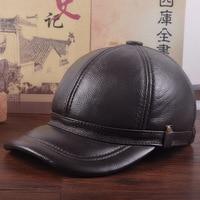Male Genuine Leather Hat Adult Cowhide Baseball Cap Adjustable Quinquagenarian Earmuffs Thick Warm Peaked Cap B 7290