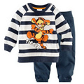 Novo estilo de roupas infantis ternos dos desenhos animados do tigre camisa de manga longa roupas casuais definir a roupa dos miúdos para o bebê meninos pijama para dormir