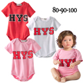 2015 New Freezing price Baby boy girl bodysuit HYS letter printed infant boys girls short sleeve cotton newborn clothes 182F