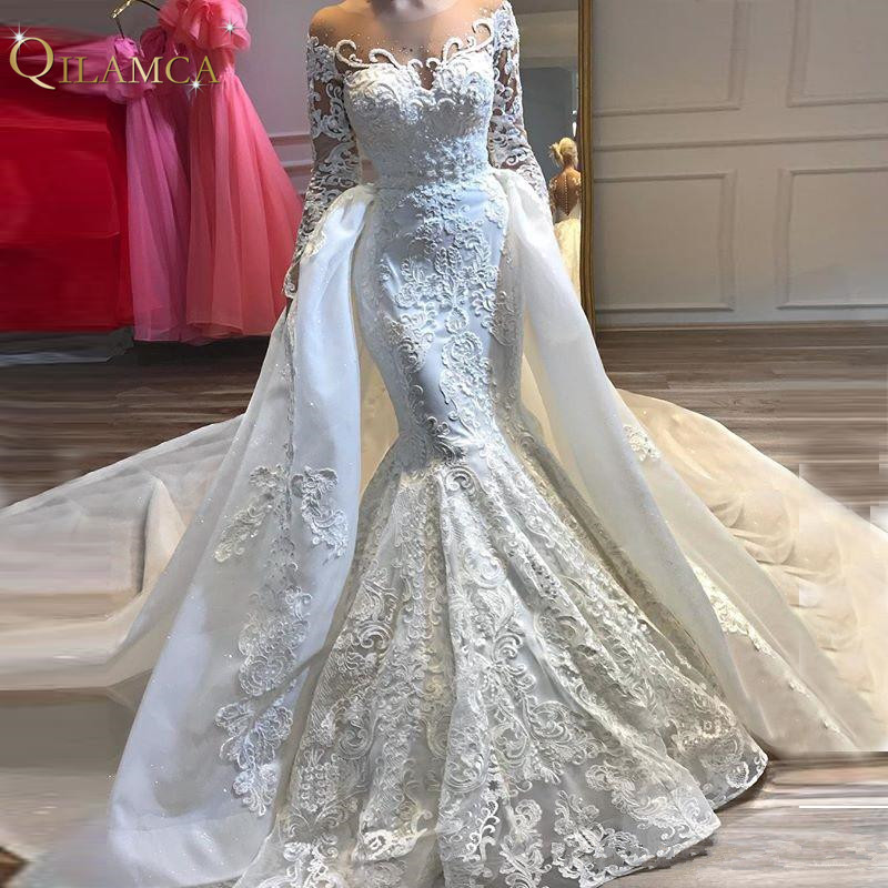 2019 Newest Sheer Neck Long Sleeve Mermaid Wedding Dress Bridal Gown Custom Made Lace Applique Detachable