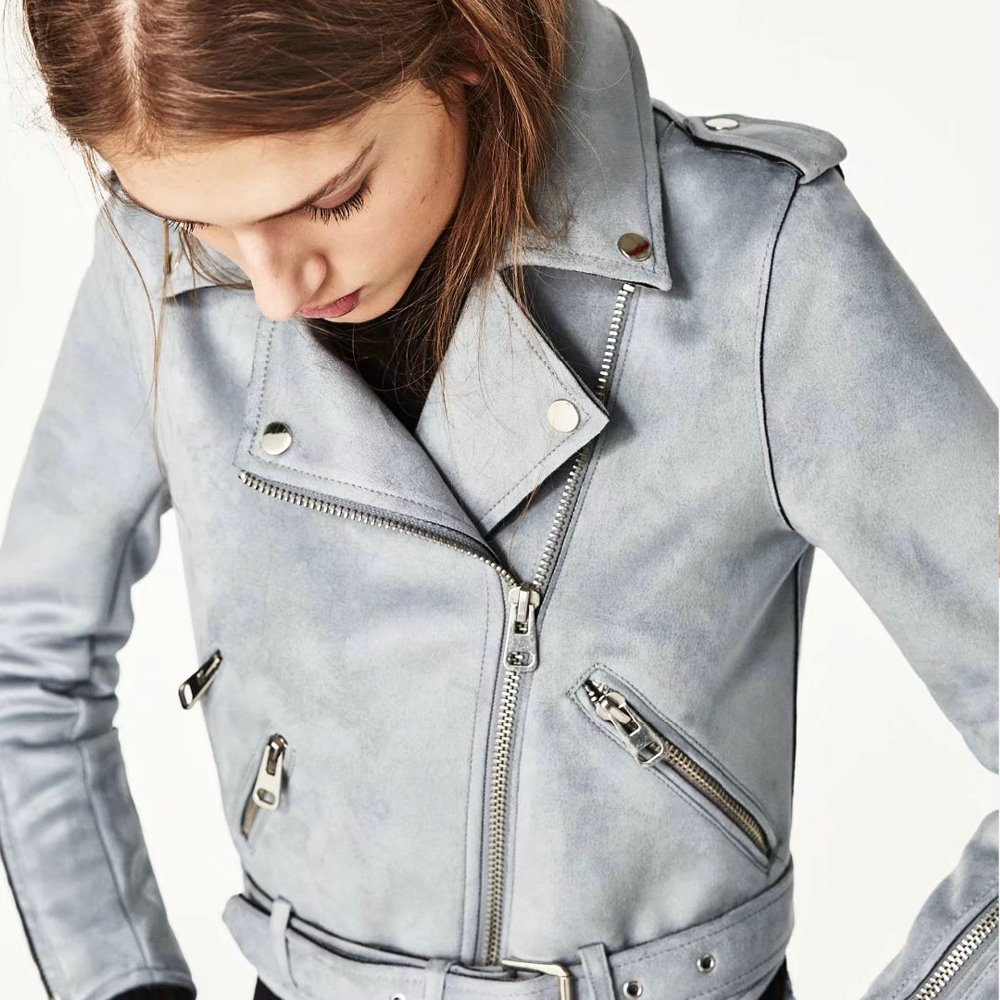 54209767c2d Новая модная женская замшевая мотоциклетная куртка тонкая розовая красная с  подкладкой мягкая искусственная кожа женское пальто