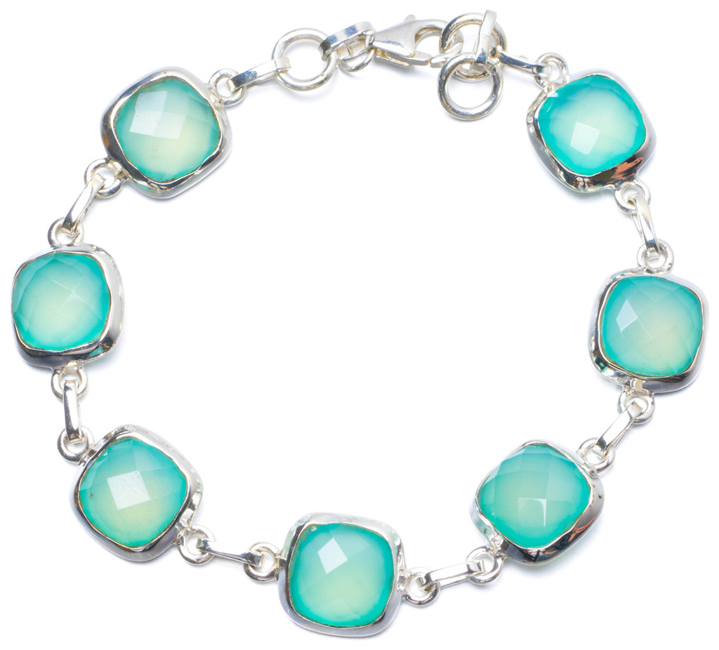 Natural Chalcedony Handmade Unique 925 Sterling Silver Bracelet 7 1/2-7 3/4 Y0888 цена
