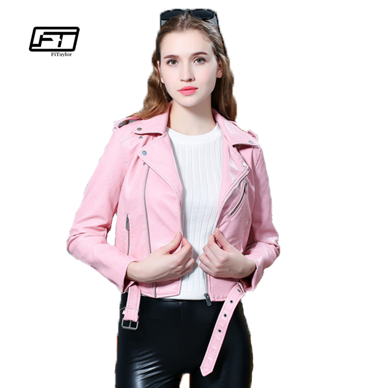 Fitaylor 2019 New Spring Women Faux ტყავის ქურთუკი Sotf Pu Causal Fashion Coats მოკლე Motorcycle ქურთუკი Biker Jacket