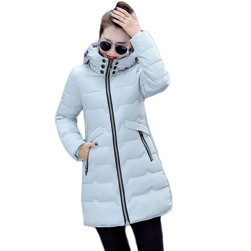 ✅2018 mujeres invierno Chaquetas bolsillos Cremalleras delgado con ...