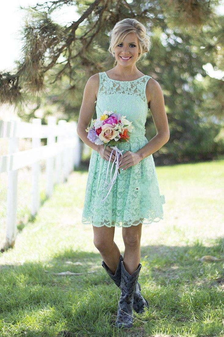 Country Mint Green Lace Short Mini Bridesmaid Dresses For Junior And ...