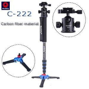 Image 1 - C 222 סיבי פחמן מקצועי דיגיטלי SLR מצלמה חדרגל נייד נסיעות צילום סוגר & חצובה בסיס & כדור ראש