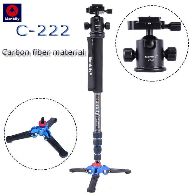 C 222 סיבי פחמן מקצועי דיגיטלי SLR מצלמה חדרגל נייד נסיעות צילום סוגר & חצובה בסיס & כדור ראש