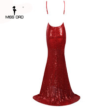 Missord 2017 Sexy halter  V-neck  party dress sequin maxi dress FT4173-1