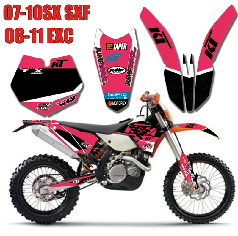 For <font><b>KTM</b></font> SX SXF 2007 <font><b>2008</b></font> 2009 2010 Dirt Bike GRAPHICS WITH MATCHING BACKGROUNDS Sticke fit for EXC 08 09 11 image