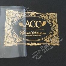 Pegatinas de metal con logotipo de nombre personalizado, pegatinas de metal autoadhesivas de lujo para botella de gafas, etiquetas de metal en relieve pegatina para plástico