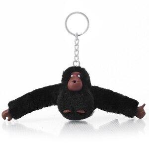 Модная плюшевая игрушечная обезьяна из искусственного меха, брелок для ключей, женская сумка, брелок с помпонами, серебряный мужской брелок...