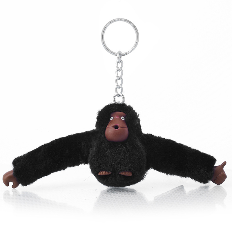 Fashion Faux Fur Plush Toy Monkey Key Chain Ring Women Bag Charms Pom Keychain Silver Man Car Keyring Jewelry Trinket Party Gift