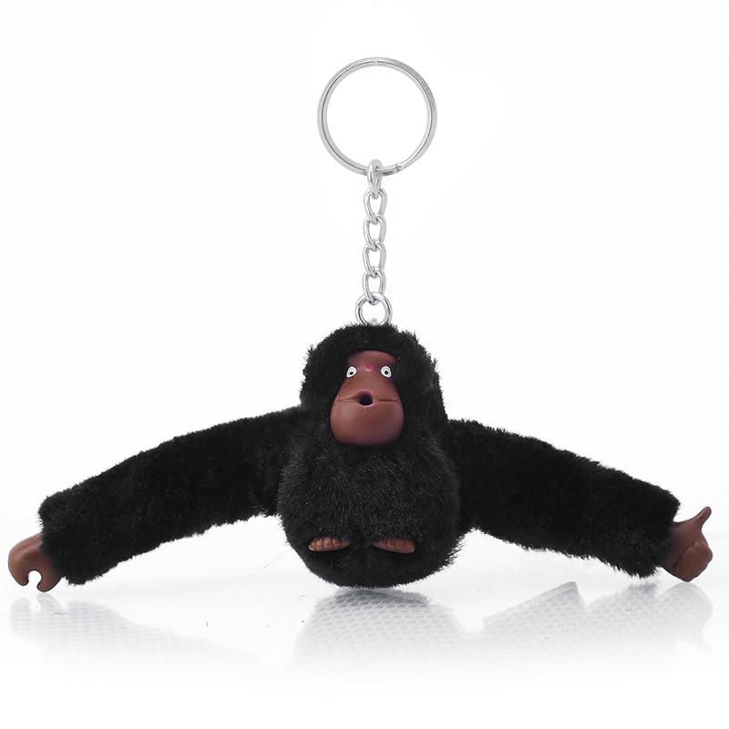 Fashion Faux Fur Plush Toy Monkey Key Chain Ring Women Bag Charms Pom Keychain Silver Man Car Keyring Jewelry Trinket Party Gift