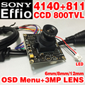 "Hd 800tvl 1/3 ""sony ccd effio-e 4140dsp 811 chip de módulo de monitor analógico cvbs ahdl mini lente 8/12/6mm 3.0mp optiona osd meun defog"