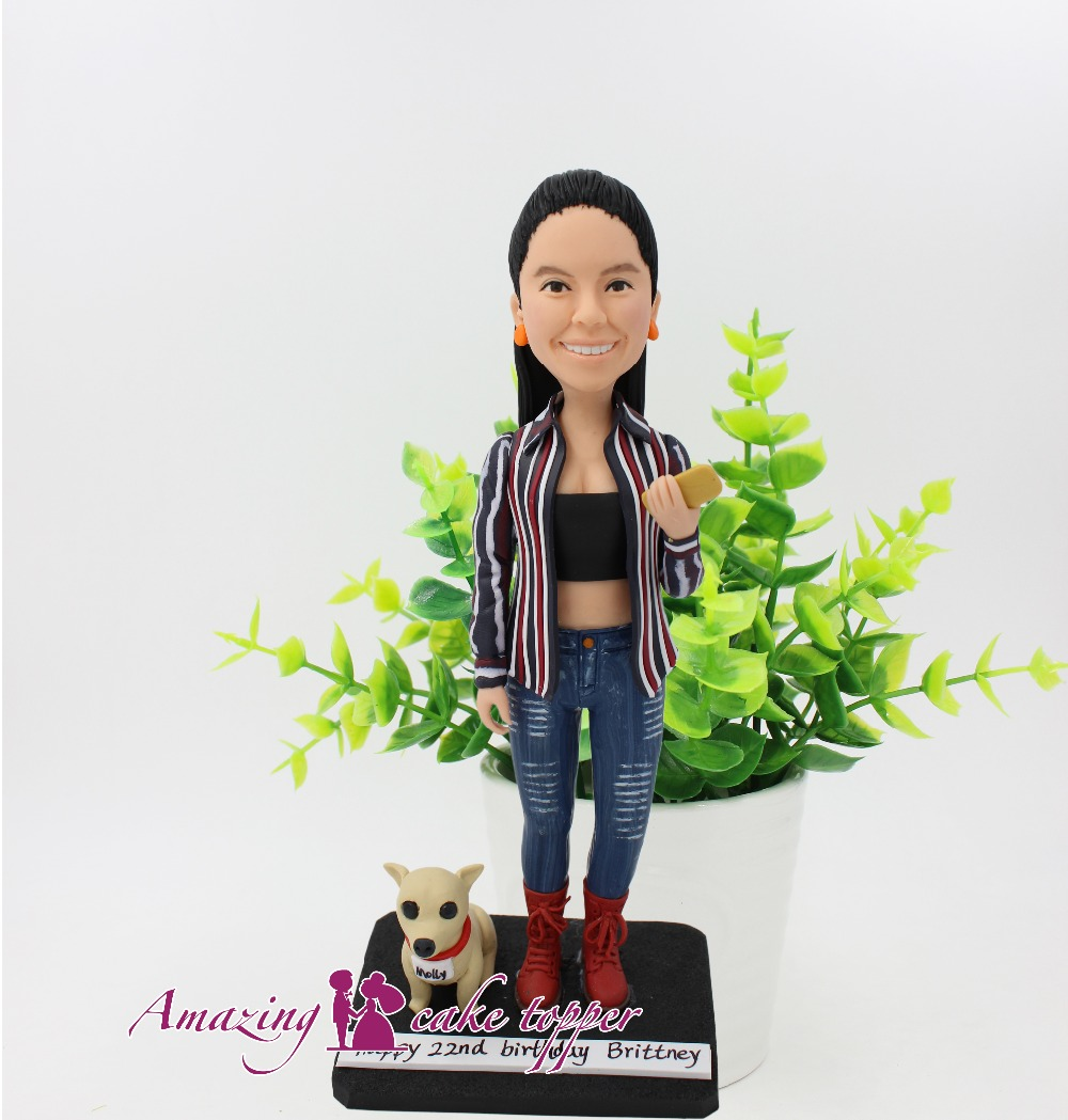 2019 AMAZING CAKE TOPPER Casual elegant girl pet Toys Custom Polymer Clay Figure From Pictures|Statues & Sculptures| |  - title=