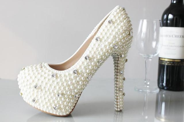 Fashion Luxurious Pearls Crystals White Wedding Shoes Size 12 Cm High Heels Bridal  Shoes Party Prom Women Shoes Free Shipping