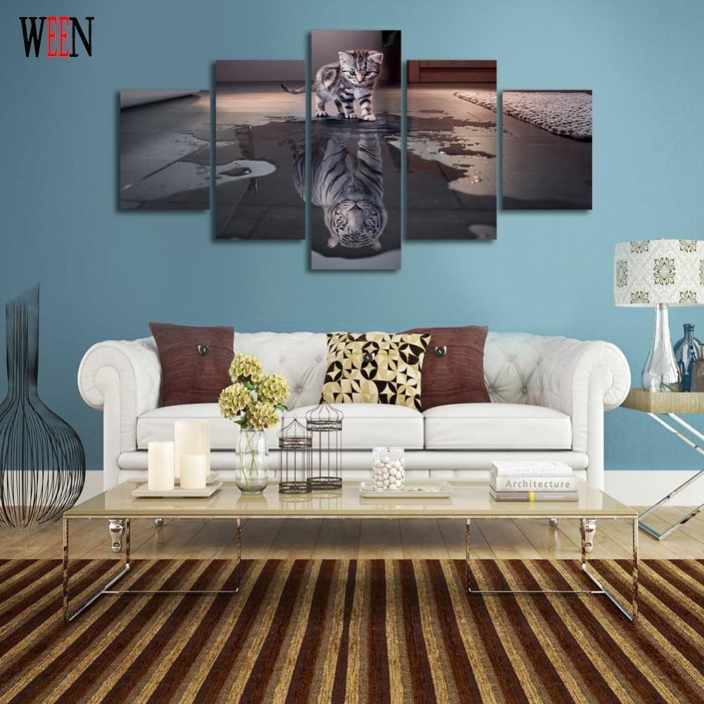 5 Κομμάτι Cat και Τίγρης Art Canvas Art Wall - Διακόσμηση σπιτιού - Φωτογραφία 4