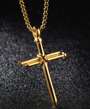 """1PCS Men Black Gold Silver Stainless Steel Nail Cross Pendant Necklace Chain 22/"""""""