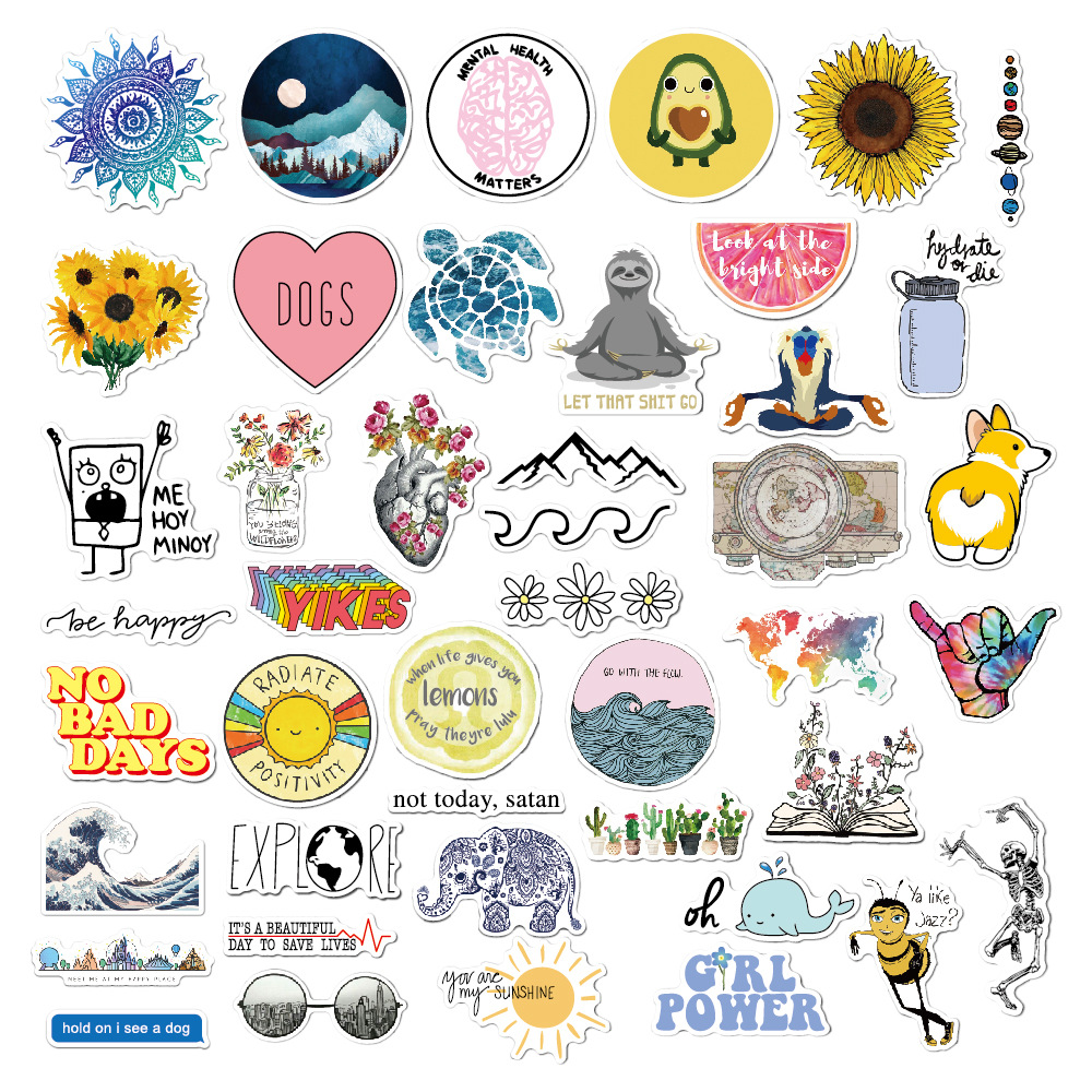 New 22/23/45/56pcs Rural Summer Light Yellow Girls PVC Stickers Toys Decor For Car Laptop Pad Phone Trunk Guitar Bicycle Motor