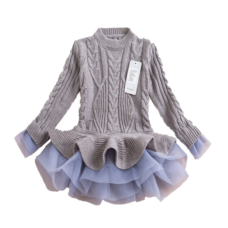 Toddler Girl Dresses Girls Knitted Sweater Dresses Princess Pullovers Sweaters Princess Dress With Lace Shrugs For Autumn Winter t100 children sweater winter wool girl child cartoon thick knitted girls cardigan warm sweater long sleeve toddler cardigan