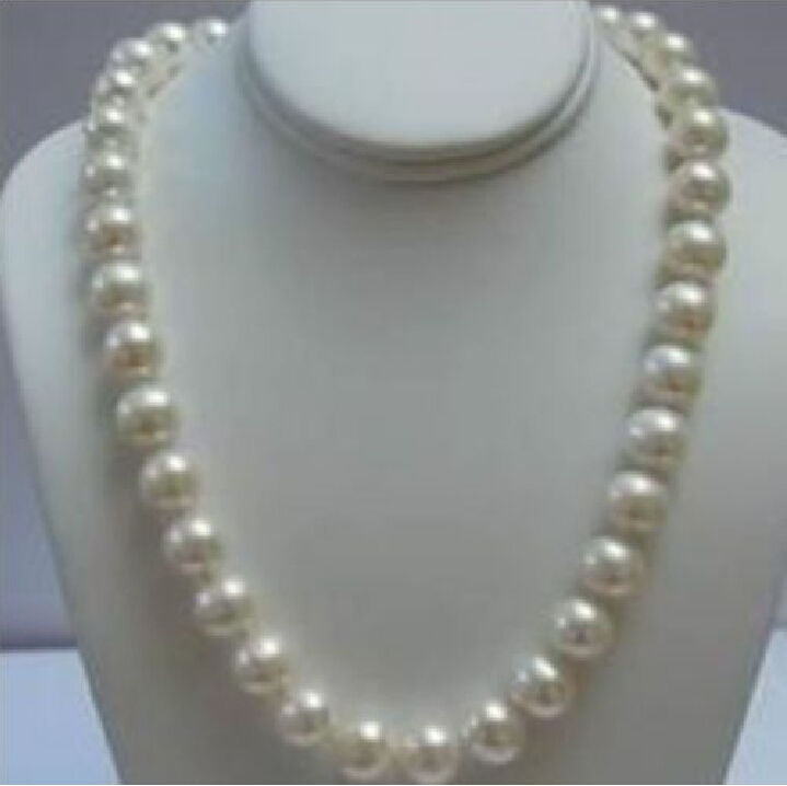 REAL CHARMING NATURAL 20 10-11MM SOUTH SEA WHITE PEARL NECKLACE 14KGP CLASP
