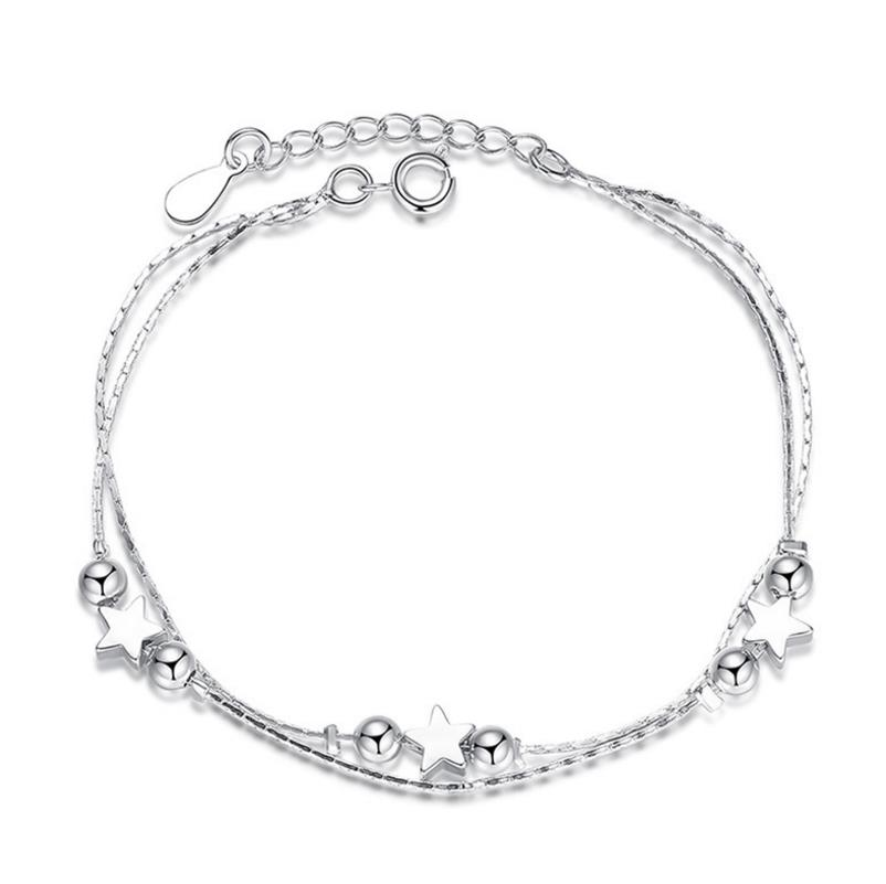TB0 Real 925 Sterling Silver Star Heart Bracelets & Bangles for Women Jewelry Two Layer Chain Link Bracelet 2018 mens jewelry double layer link chain men bracelets 925 sterling silver bracelets