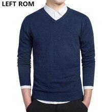 LEFT ROM stylish men fall slim Fit v-neck sweater/Male premium brand leisure Set head knit shirt/Large size knitted sweater XXXL
