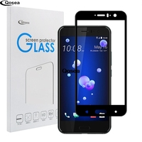 For HTC U11 Premium Protective Tempered Glass 9H Electroplated 4D Front Full Film Ultra Clear Case