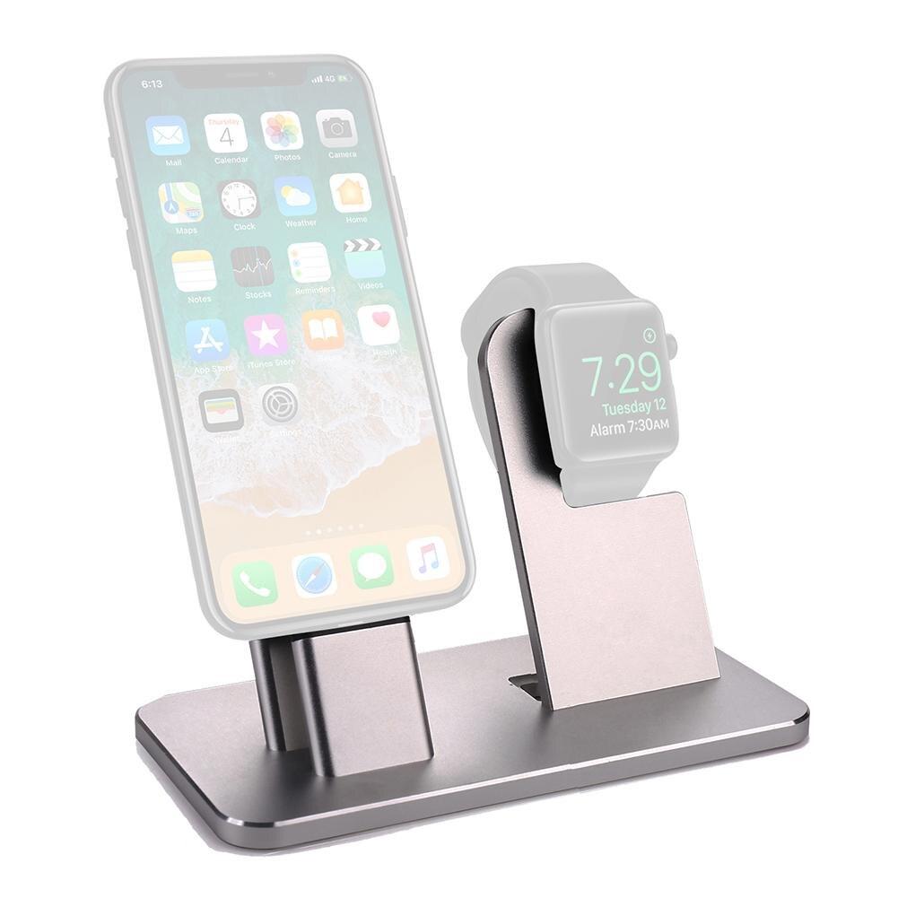 2-en-1 En Alliage D'aluminium De Bureau Affichage Titulaire Métal Mobile Téléphone Chargeur Stand Pour iPhones/iwatch D'accueil station