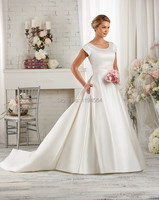 Free Shipping 2014 Modest Wedding Dresses Temple Long Train Satin High Back Bridal Gown Short Sleeves