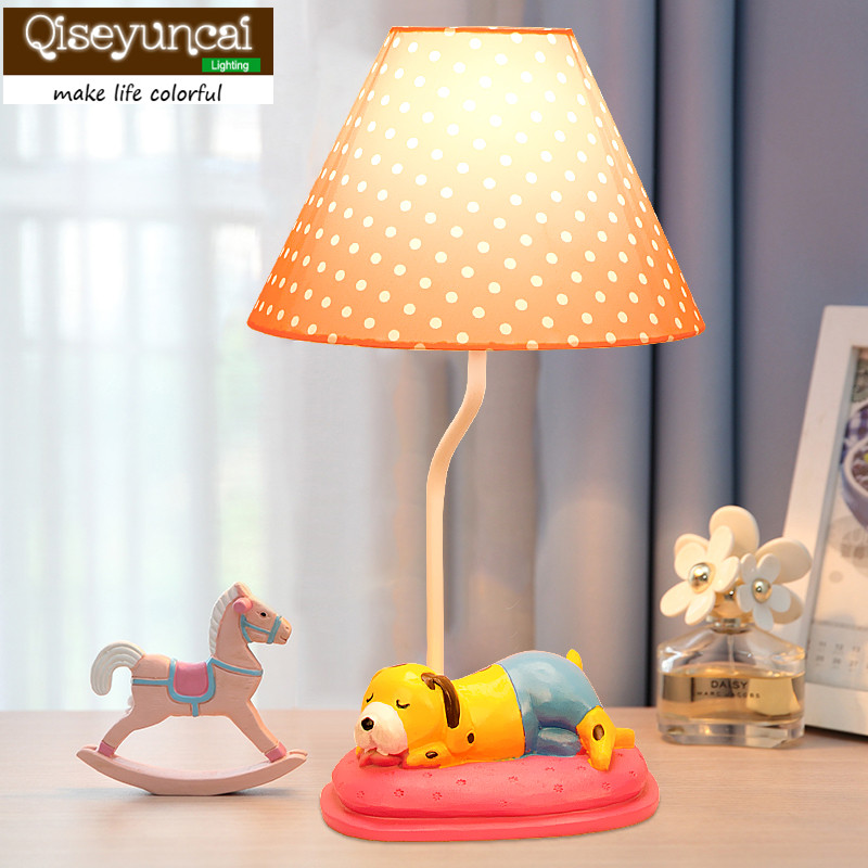 Qiseyuncai 2018 new Children creative cartoon dog desk lamp dimmable girl bedroom bedside cute warm Princess gift table lamp стоимость